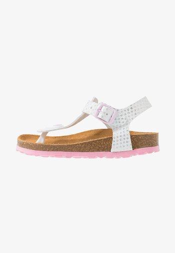 BIOLINE STARPRINT - T-bar sandals - weiss/rosa