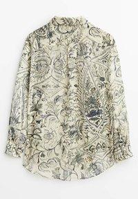 Massimo Dutti - BLÄTTERPRINT - Button-down blouse - beige - 7