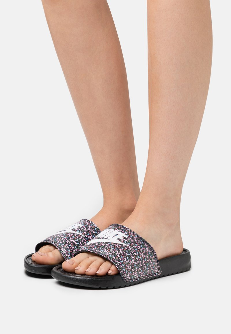 Nike Sportswear - BENASSI JDI PRINT - Sandalias planas - black/white/light arctic pink/baltic blue/firewood orange/cucumber calm