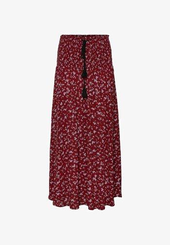 GESMOKT - Maxi skirt - tibetan red