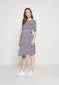 Anna Field MAMA - Jersey dress - white/dark blue - 1