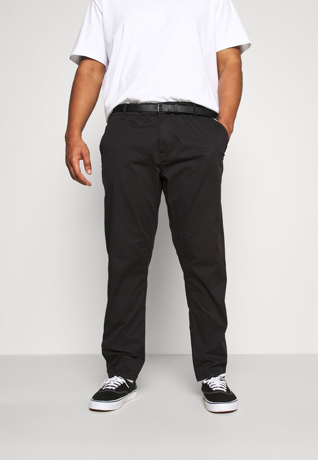STRETCH WITH BELT - Chino - black