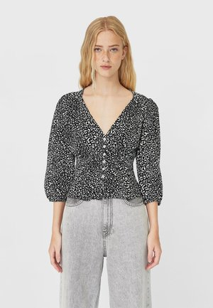 MIT RAFFUNG  - Button-down blouse - black