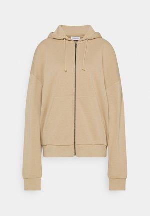 Oversized Zip Through Hoodie Jacket - Zip-up hoodie - mottled beige