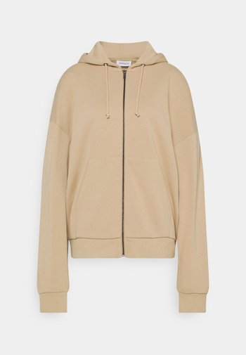 Oversized Hooded Sweat Jacket - Zip-up sweatshirt - mottled beige