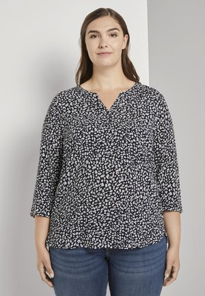 Blouse - navy abstract leopard design
