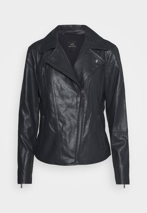 BLOUSON JACKET - Leather jacket - navy