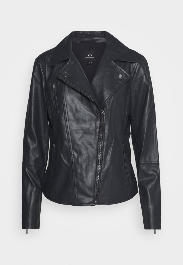 BLOUSON JACKET - Leather jacket - navy
