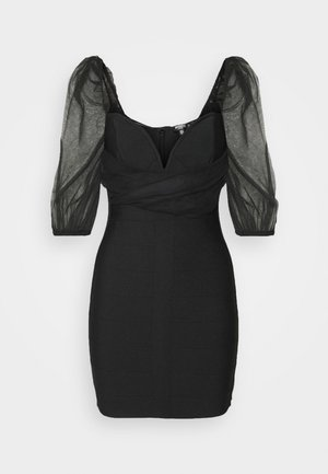 RUCHED MILKMAID BANDAGE MINI DRESS - Cocktail dress / Party dress - black