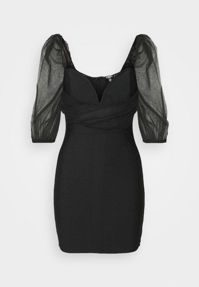 RUCHED MILKMAID BANDAGE MINI DRESS - Robe de soirée - black
