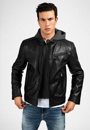 Faux leather jacket - mehrfarbig schwarz