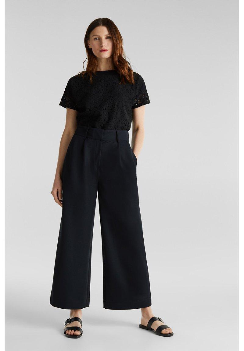 Esprit Collection - FASHION CULOTTE - Trousers - black
