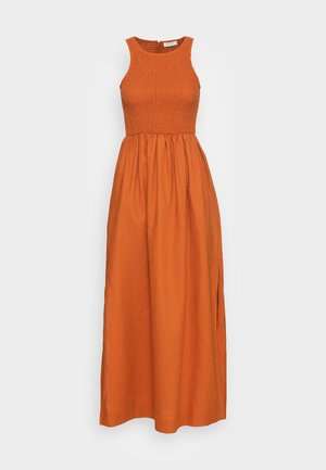 VELVET SMOCK DRESS - Maxi dress - burnt caramel
