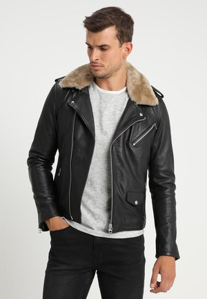 GALLERY - Leather jacket - black/offwhite