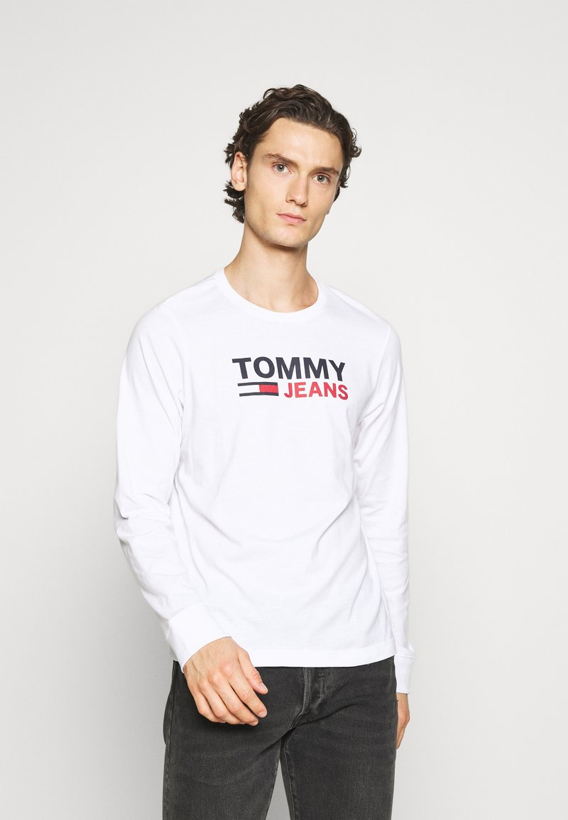 Tommy Jeans - LONGSLEEVE LOGO UNISEX - Long sleeved top - white
