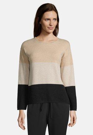 COLOUR BLOCKING - Sweatshirt - black/camel