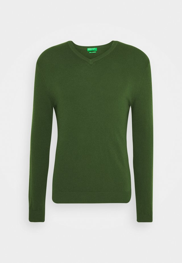 BASIC V NECK - Sweter - dark green