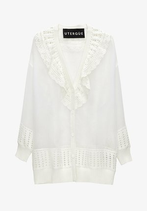 MIT HÄKELEI UND ORGANZA - Cardigan - white