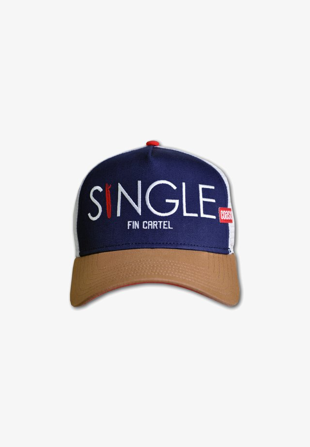 SINGLE FIN - Cap - navy/cognac