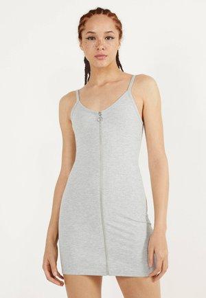 MIT REISSVERSCHLUSS  - Jersey dress - light grey