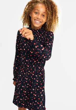 MET BLOEMENDESSIN EN SMOKWERK - Day dress - navy blue