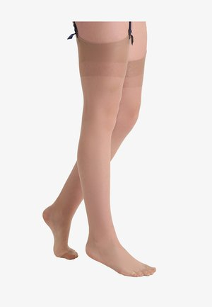 PLAIN LEG PLAIN TOPPED STOCKINGS - Over-the-knee socks - nude