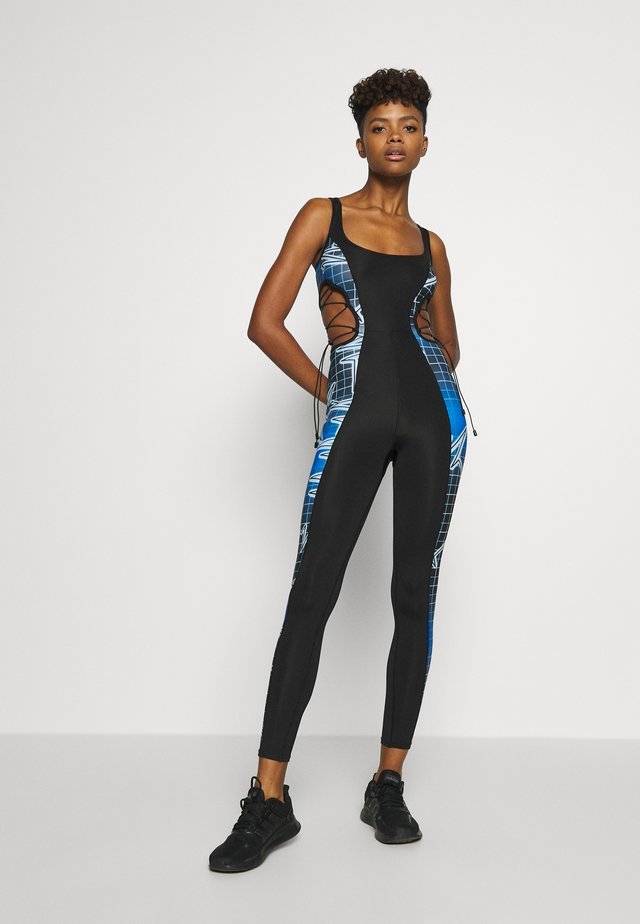 SQUARE NECK PRINTED CATSUIT WITH CUT OUT - Tuta jumpsuit - multi coloured