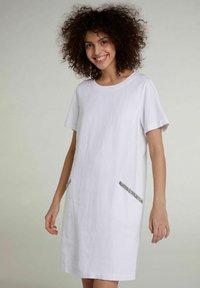 Oui - Jersey dress - optic white - 0
