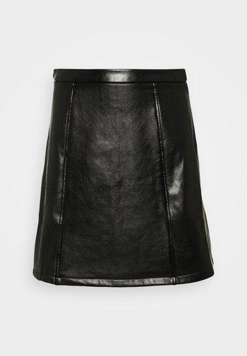 PU leather mini skirt - Mini skirt - black