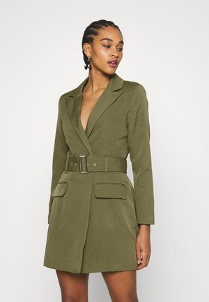 BELTED BLAZER DRESS - Shift dress - sage