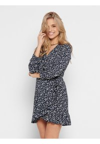 ONLY - ONLCARLY WRAP SHORT DRESS - Day dress - night sky - 0