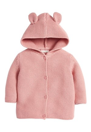 OATMEAL HOODED EAR CARDIGAN (0MTHS-3YRS) - Strikjakke /Cardigans - pink