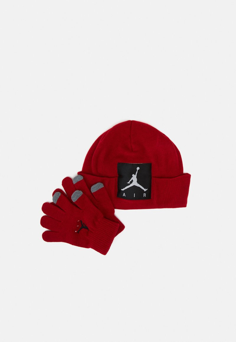 Jordan - OFFSET PATCH BEANIE SET UNISEX - Gloves - gym red
