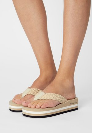 DORA 3D - T-bar sandals - sand