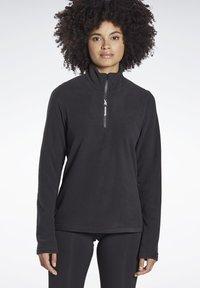 Reebok - OUTERWEAR QUARTER-ZIP TOP - Fleece jumper - black - 0