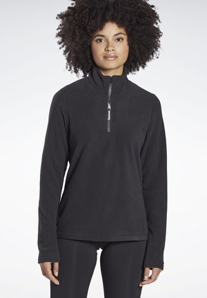 OUTERWEAR QUARTER-ZIP TOP - Fleecepullover - black