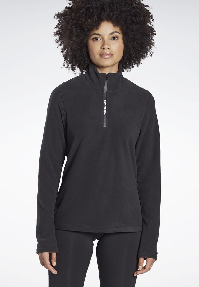 OUTERWEAR QUARTER-ZIP TOP - Fleece jumper - black