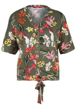 MIT KNOTEN-DETAIL - Button-down blouse - khaki aop flowers