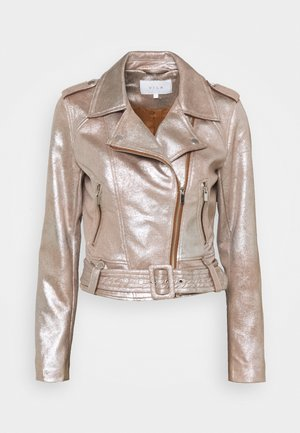 VIMALLIES BIKER JACKET - Faux leather jacket - toffee/warm silver foil