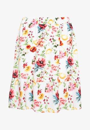 ELASTIC WAIST FLOWY MINI SKIRT - Jupe trapèze - white/multicolor