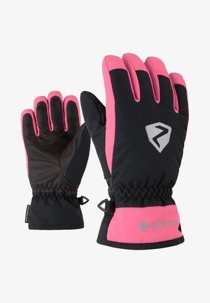 Gloves - black.pink dahlia