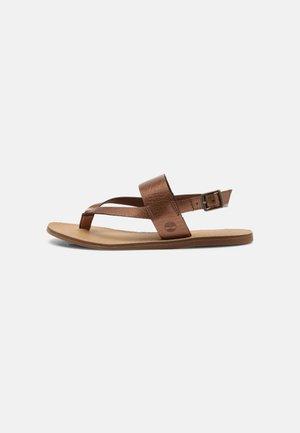 CAROLISTA - T-bar sandals - medium brown metallic
