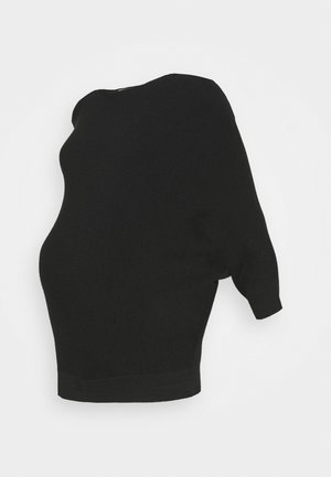 WRAP BACK BATWING JUMPER - Jumper - black