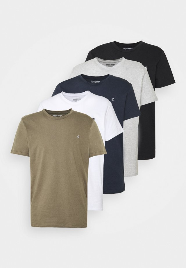 JORTIMES TEE CREW NECK 5 PACK - Basic T-shirt - dark blue/black/white/light grey/khaki