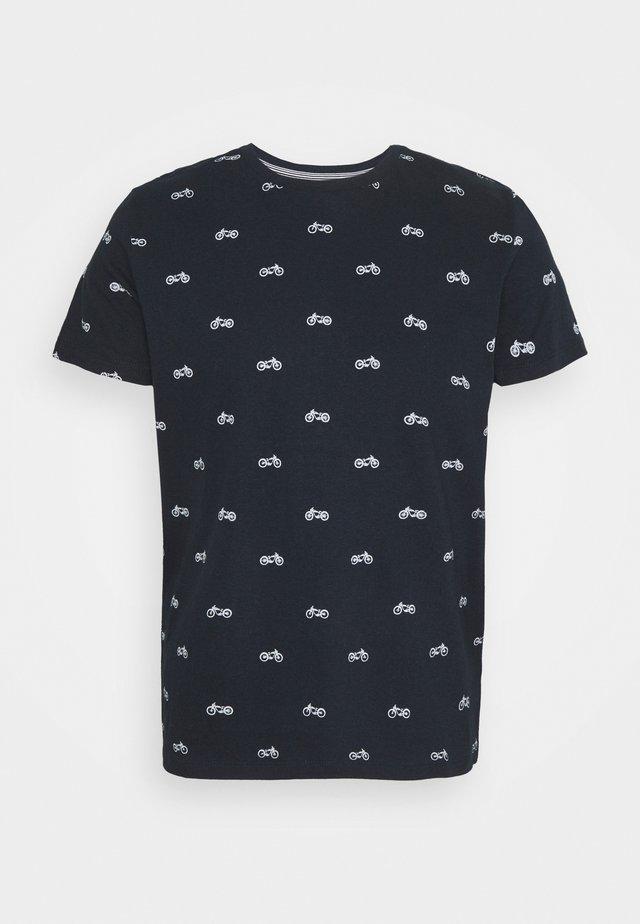 Print T-shirt - dark navy/white