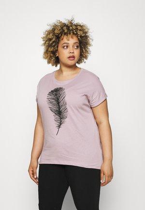 MANDALA WATERCOLOUR FEATHER TEE  - Print T-shirt - lilac