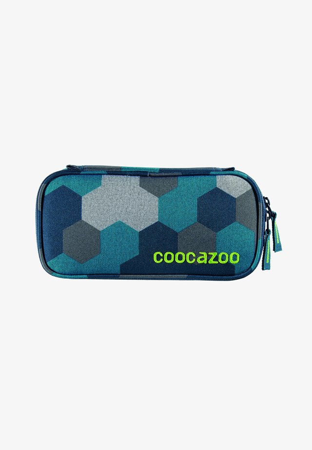 Pencil case - blue geometric melange