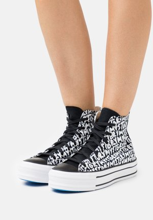 CHUCK TAYLOR ALL STAR PLATFORM MY STORY - Sneakersy wysokie - black/egret/digital blue