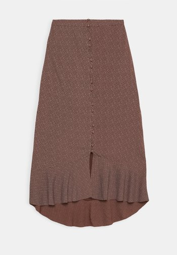 RUFFLE WRAP MIDI  - A-line skirt - red