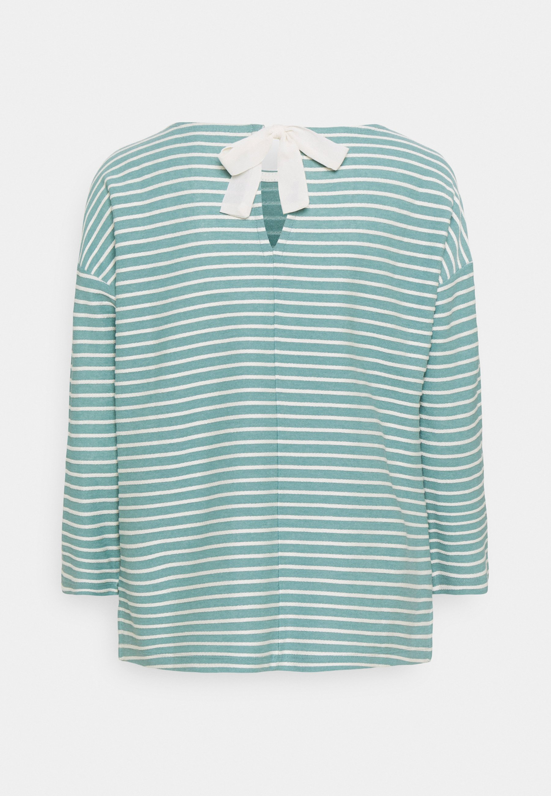 Women LOOSE STRUCTURED STRIPE TEE - Long sleeved top - mint